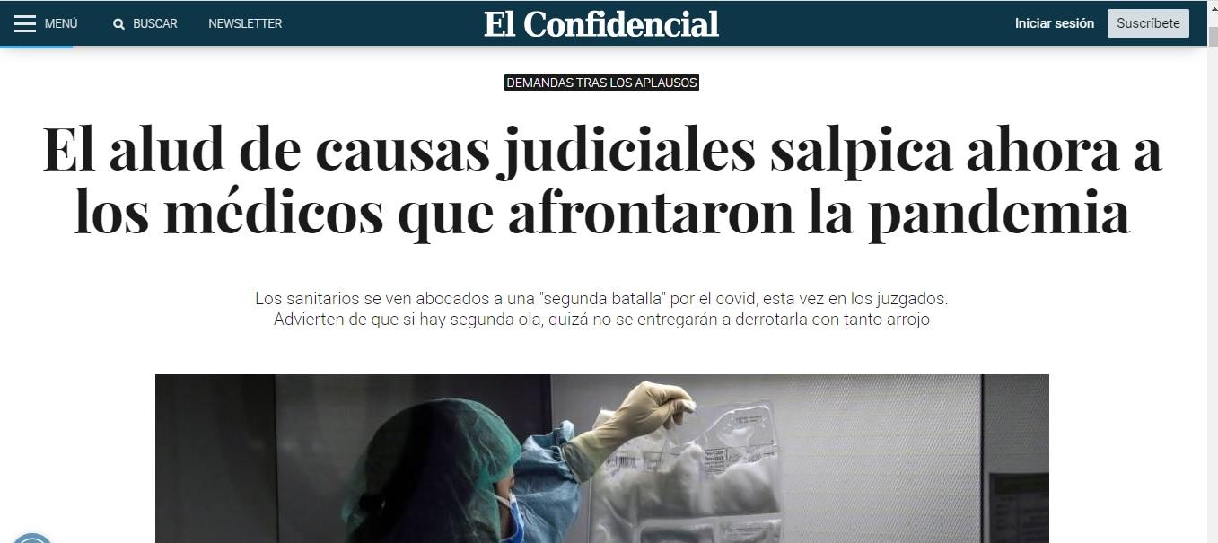 El Confidencial.com recoge una entrevista a nuestra directora ante la llegada de las demandas contra los médicos que afrontaron la pandemia