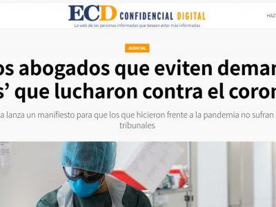 El Confidencial Digital nos entrevista sobre la petición de evitar demandar a los 'héroes' que lucharon contra el coronavirus